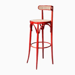 Red Bentwood and Rattan Barstools, 1970s, Set of 4