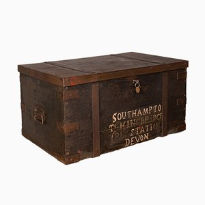 Antique English Victorian Iron and Pine Steamer Trunk, 1860s