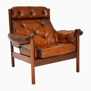 Vintage Leather Armchair by Guy Rogers, 1960s