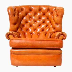 Large Vintage Chesterfield Wingback Chair in Cognac Leather