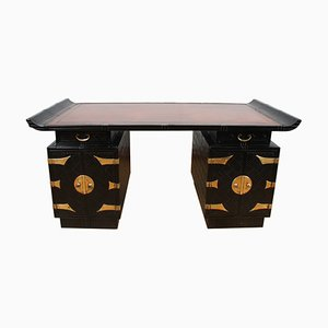 French Ebonised Bamboo Desk with Leather Top, 1960s