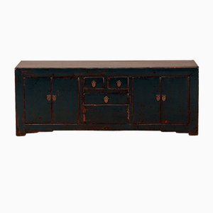 Low Dark Blue Lacquered Cabinet