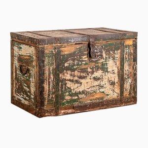 Baule vintage in legno e ferro, inizio XX secolo