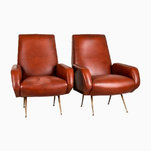 Vintage Modernist Armchairs in Leather and Brass, 1950s, Set of 2