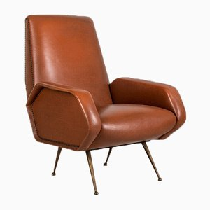 Vintage Modernist Armchair in Brown Leather and Brass, 1950s
