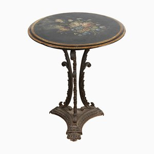 Cast Iron Side Table with Painted Slate Top