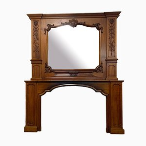 Louis XV Rocaille Château Fireplace in Solid Walnut, 1900s