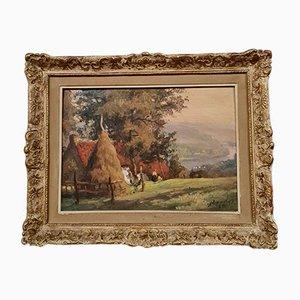 Albert Dandoy, Namur 1885 a 1977, óleo sobre tabla, paisaje en las montañas