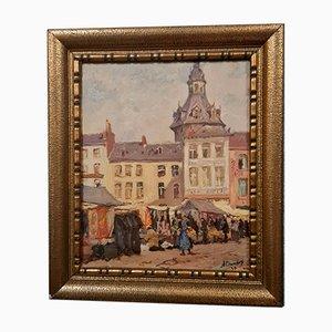 Albert Dandoy (Namur, 1885-1977), Dipinto ad olio raffigurante il mercato di Namur