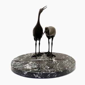 Bronze Cranes Table Business Card Holder on Marble Base, 1920s