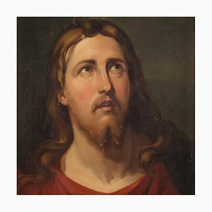 Antique Italian Religious Painting of the Face of Christ