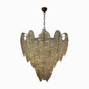 Großer Mid-Century Murano Glas Blatt Kronleuchter