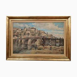 Albert Dandoy, Namur 1885 to 1977, Oil on Canvas, Bridge in Namur in 1975