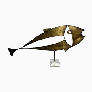 Large Brass Fish Sculpture by Laszlo Pal Horvath, 1970s