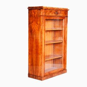 Czech Biedermeier Walnut Display Bookcase, 19th Century