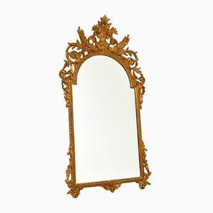 Großer antiker französischer Spiegel mit vergoldetem geschnitztem Holzrahmen