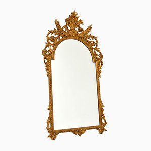 Large Antique French Gilt Carved Wood Mirror