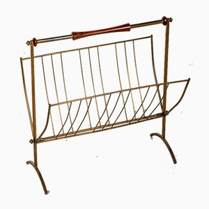 Vintage Freestanding Magazine Rack in Brass and Wood, 1950s