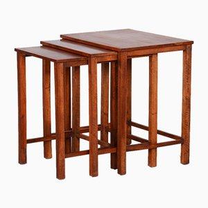 Tables Gigognes Marron, République Tchèque, 1930s, Set de 3