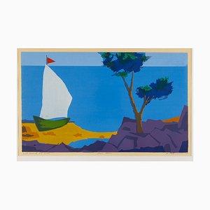 Hans Behrens, Segelboot an der Küste, 1960er