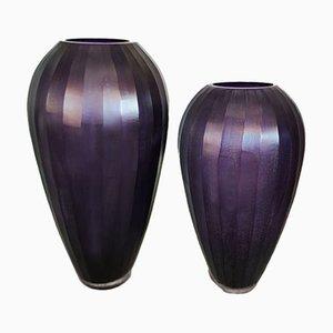 Vases Violets en Verre de Murano, Italie, 1970s, Set de 2