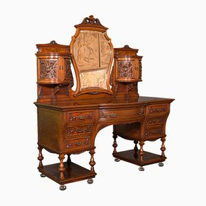 Antique English Victorian Walnut Dressing Table from Gillow & Co