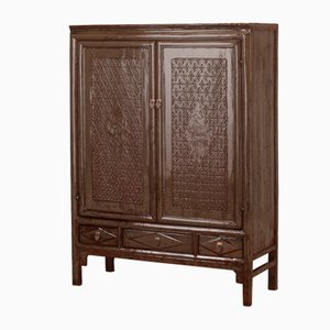 Patterned Gray Lacquer Cabinet
