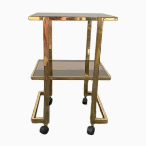 Brass and Smoked Glass Bar Trolley, 1970s
