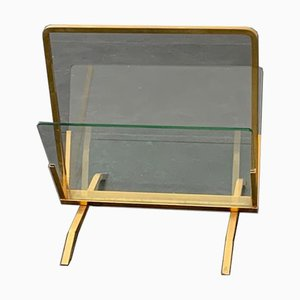 Brass and Glass Magazine Rack, Italy, 1960s