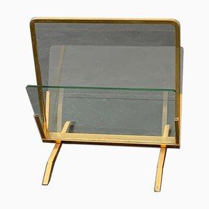 Portariviste in ottone e vetro, Italia, anni '60