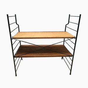 Small Loft Style Library Bookcase Metal and Wood