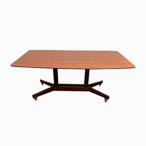 Rosewood Table with Adjustable Feet and Brass Details