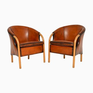 Vintage Danish Leather Armchairs by Stouby, Set of 2