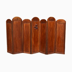 Art Deco Folding Screen with 7 Sculpted Panels, 1940s