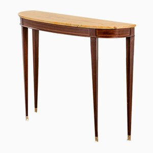 Console with Wooden Frame, Marble Top and Brass Details by Paolo Buffa, 1950s