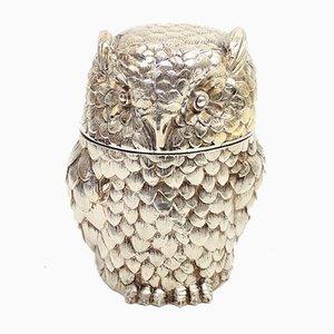 Secchiello per il ghiaccio a forma di gufo placcato in argento di Mauro Manetti, anni '70