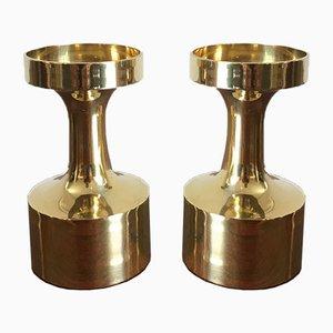 Scandinavian Brass Candleholder Set, Denmark, 1950s, Set of 2