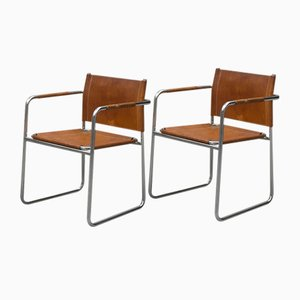 Chrome and Leather Model Admiral Armchairs by Karin Mobring for Ikea, Sweden, 1970s, Set of 2