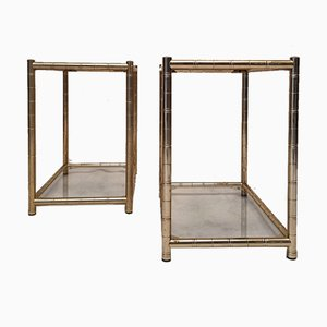 Bamboo Style End Tables in Gilt Brass, 1980s, Set of 2