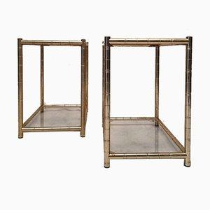 Tables d'Appoint Style Bambou en Laiton Doré, 1980s, Set de 2