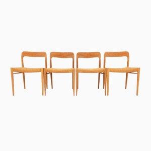 Chaises de Salle à Manger Modèle 75 en Chêne et Corde par Niels Otto Møller, Set de 4