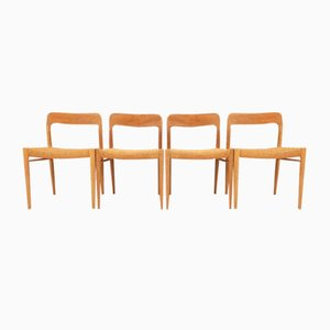 Oak and Original Papel Rope Model 75 Dining Chairs by Niels Otto Møller, Set of 4