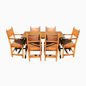 Oak Dining Table and Dining Chairs from Maple & Co, 1940s, Set of 7