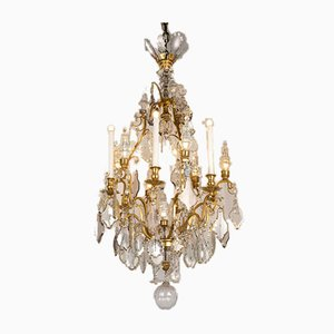 French Chandelier in Gilt Bronze and Crystal, Early 1900s