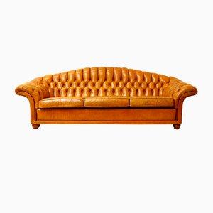 Große Vintage Chesterfield Couch aus cognacfarbenem Leder