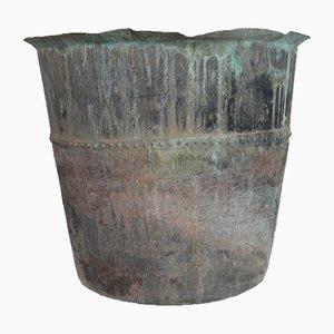 Antiker französischer vernieteter Übertopf aus Kupfer