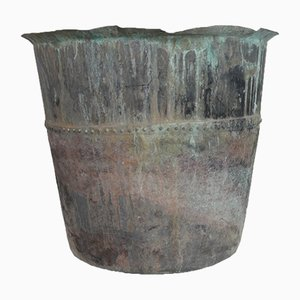 Antique French Riveted Planter Pot in Copper