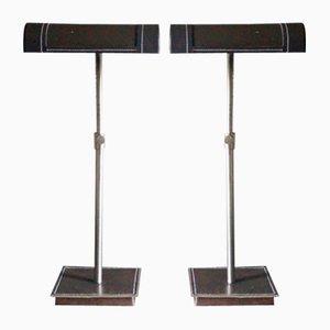 Lampes de Bureau Ajustables Mid-Century en Cuir par Jacques Adnet, France, 1950s, Set de 2