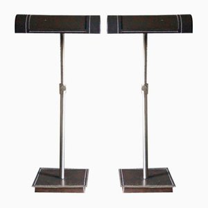 Mid-Century Adjustable Leather Table Lamps by Jacques Adnet, France, 1950s, Set of 2