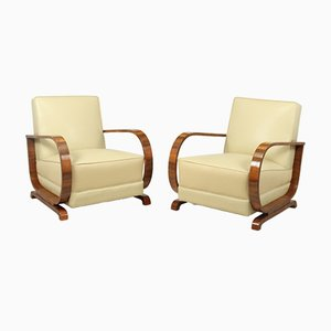 Italienische Art Deco Walnuss Armlehnstühle, 2er Set